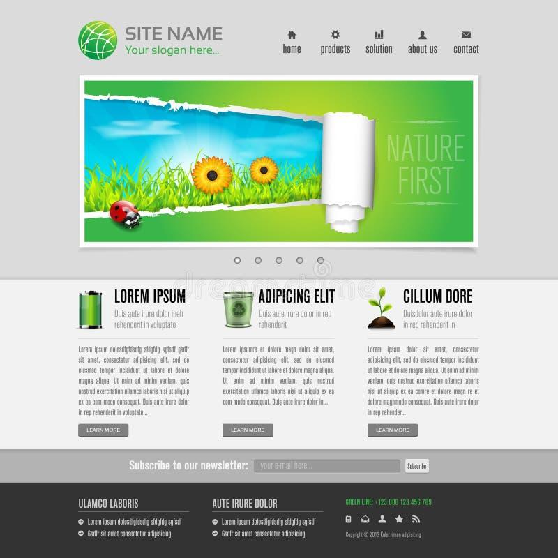 Зеленый шаблон вебсайта eco иллюстрация вектора