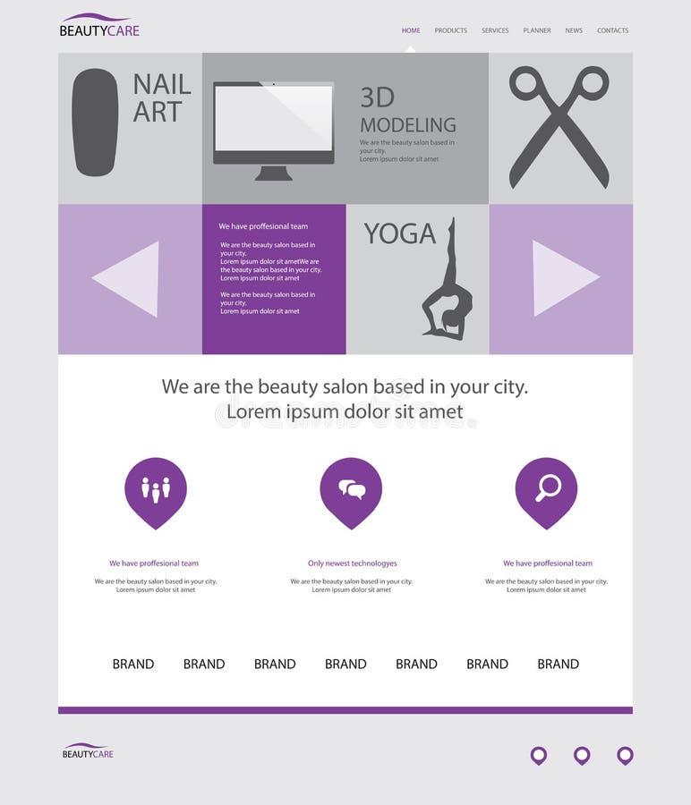 Шаблон вебсайта салона красоты бесплатная иллюстрация