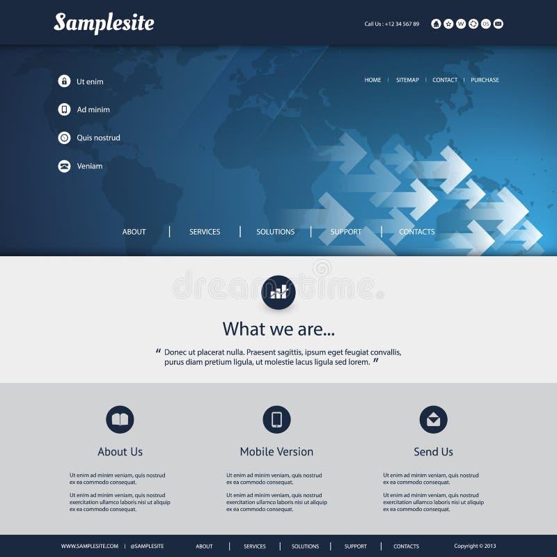 Шаблон вебсайта с дизайном картины карты и стрелок мира для вашего дела иллюстрация вектора
