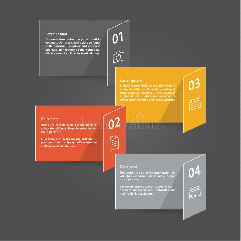 Шаблон вектора - 4 красочно сложенных карточки с местом для yo иллюстрация штока