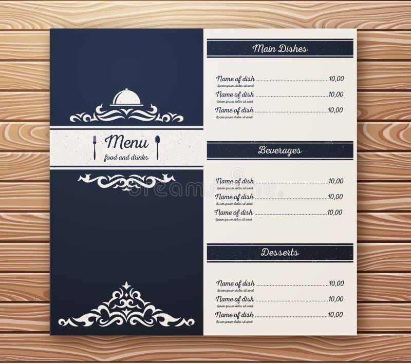 Шаблон вектора меню ресторана или кафа ретро бесплатная иллюстрация
