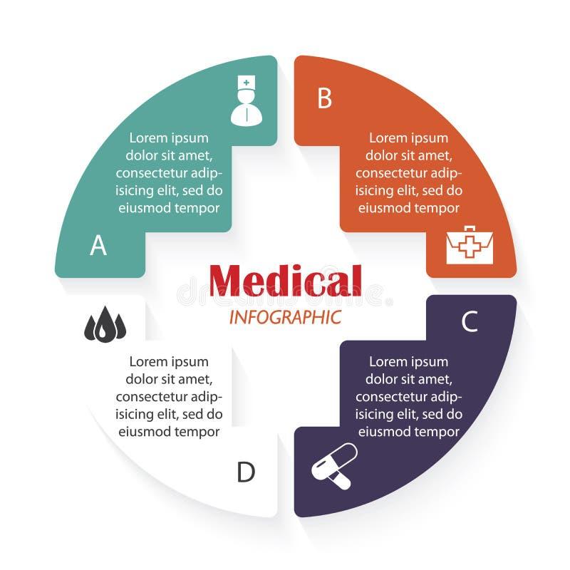 Шаблон вектора медицинский infographic с 4 этапами иллюстрация штока