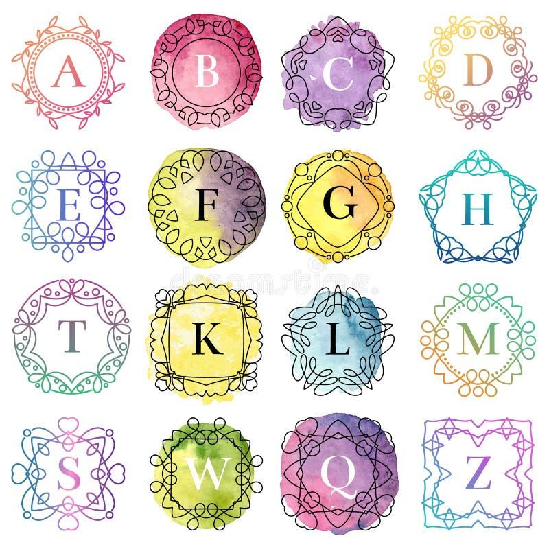 Шаблон вензеля с иллюстрацией вектора письма значка акварели орнамента эффектных демонстраций каллиграфической элегантной иллюстрация штока