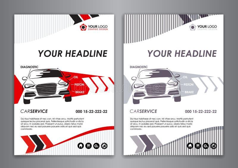 A5, шаблон визитной карточки автомобиля обслуживания A4 Шаблоны брошюры ремонта автомобилей, иллюстрация идентичности иллюстрация вектора