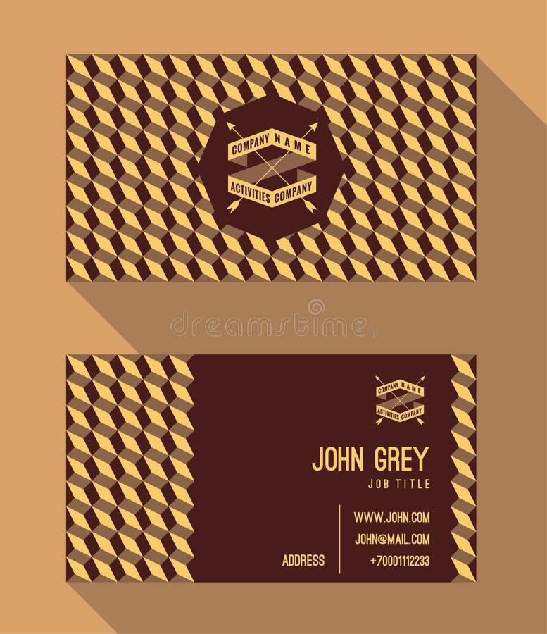 Шаблон визитной карточки, винтажная ретро предпосылка с геометрическим бесплатная иллюстрация