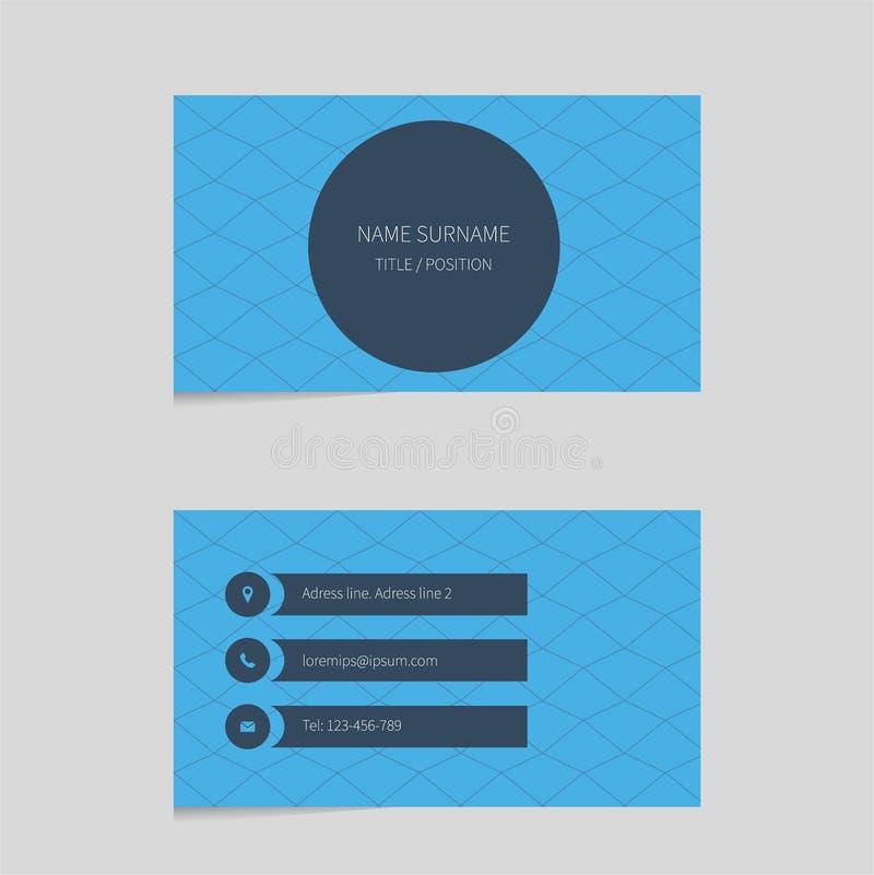 Шаблон визитной карточки в голубом цвете иллюстрация вектора