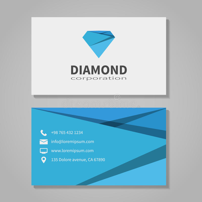 Шаблон визитной карточки корпорации диаманта бесплатная иллюстрация