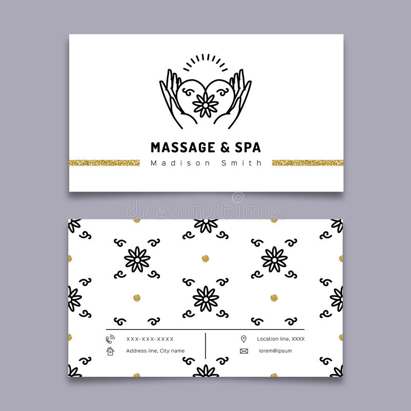 Шаблон визитной карточки массажа и терапии курорта, ультрамодная линия значок иллюстрация вектора