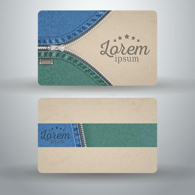 Шаблон визитной карточки от картона и джинсовой ткани, иллюстрация вектора