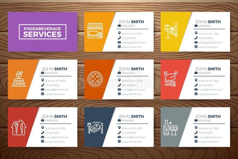 Шаблон визитной карточки ресторанного бизнеса бесплатная иллюстрация