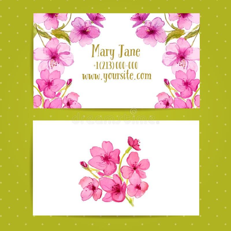 Шаблон визитной карточки с цветками акварели  иллюстрация вектора