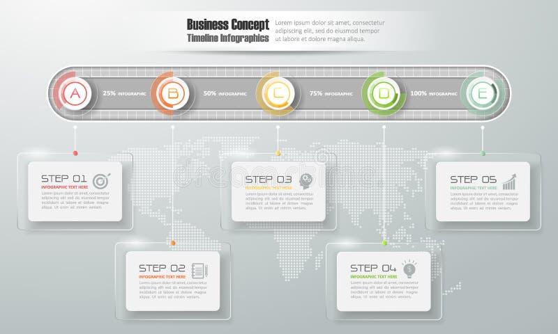 Шаблон временной последовательности по дизайна infographic для концепции дела бесплатная иллюстрация