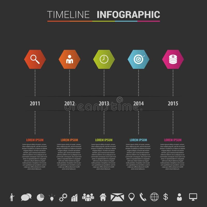 Шаблон временной последовательности по Infographics с полигонами и значками вектор бесплатная иллюстрация