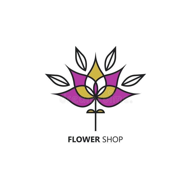 Шаблон в линейном стиле - абстрактная эмблема дизайна логотипа вектора для флористических магазина или студии иллюстрация штока