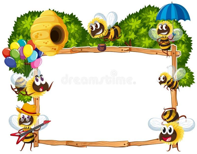 Шаблон границы с летать пчел иллюстрация вектора
