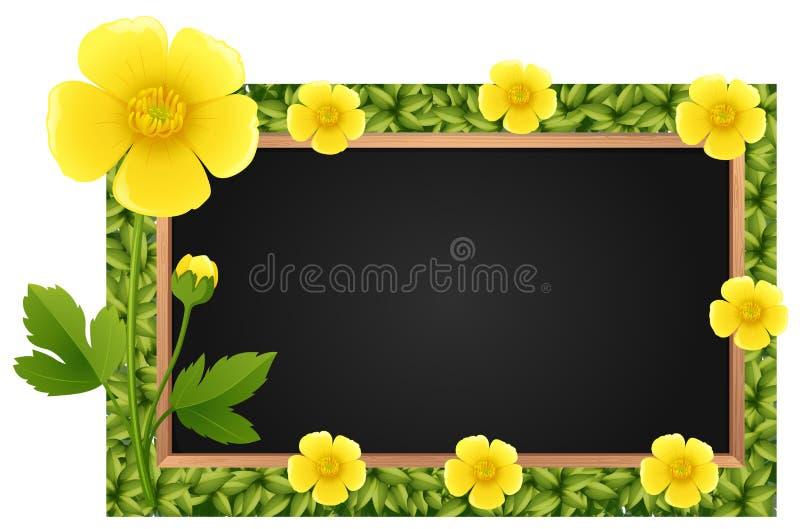 Шаблон границы с желтыми лютиками бесплатная иллюстрация