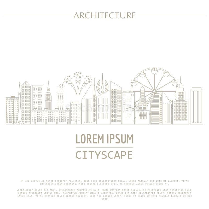 Шаблон графика городского пейзажа город зодчества самомоднейший иллюстрация вектора