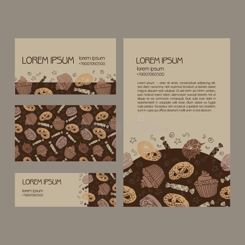 Шаблон дела десерта установленный шарж бесплатная иллюстрация