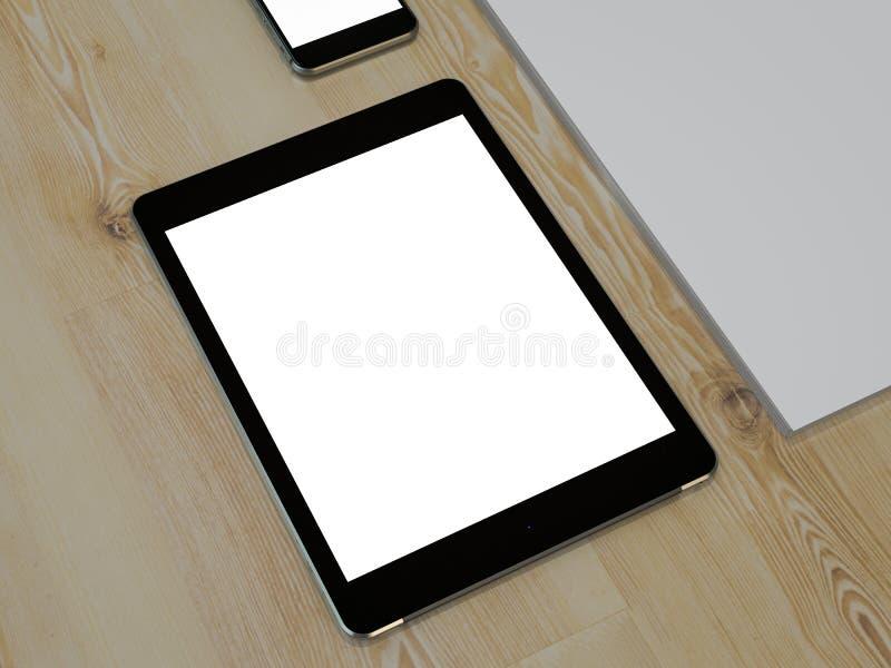 Шаблон дела модель-макета Комплект элементов на деревянном столе стоковое изображение