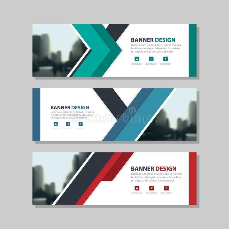 Шаблон знамени корпоративного бизнеса конспекта треугольника голубого зеленого цвета красный, горизонтальный шаблон плана знамени иллюстрация вектора
