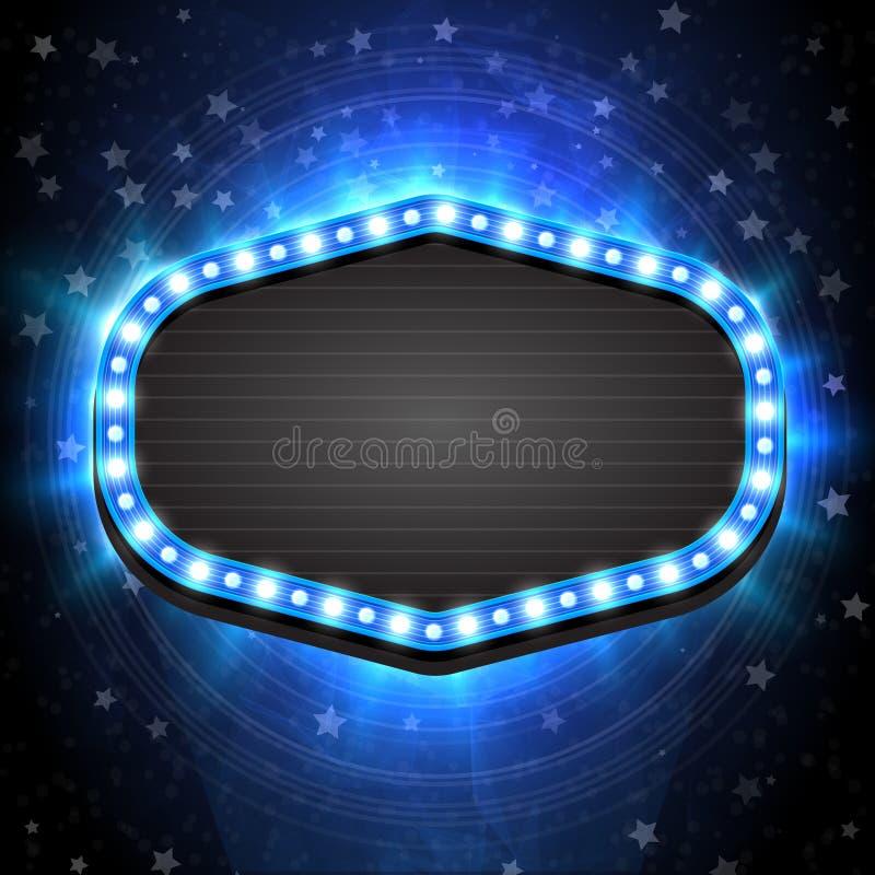 Шаблон знамени рамки сияющей зимы пустой голубой ретро светлый на предпосылке рождества вектор экрана иллюстрации 10 eps иллюстрация вектора