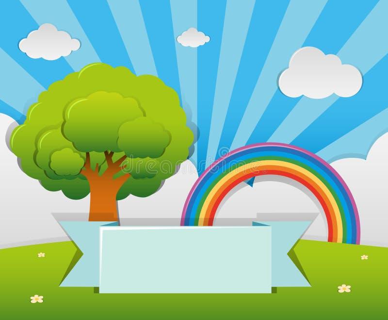 Шаблон знамени с деревом и радуга в саде бесплатная иллюстрация