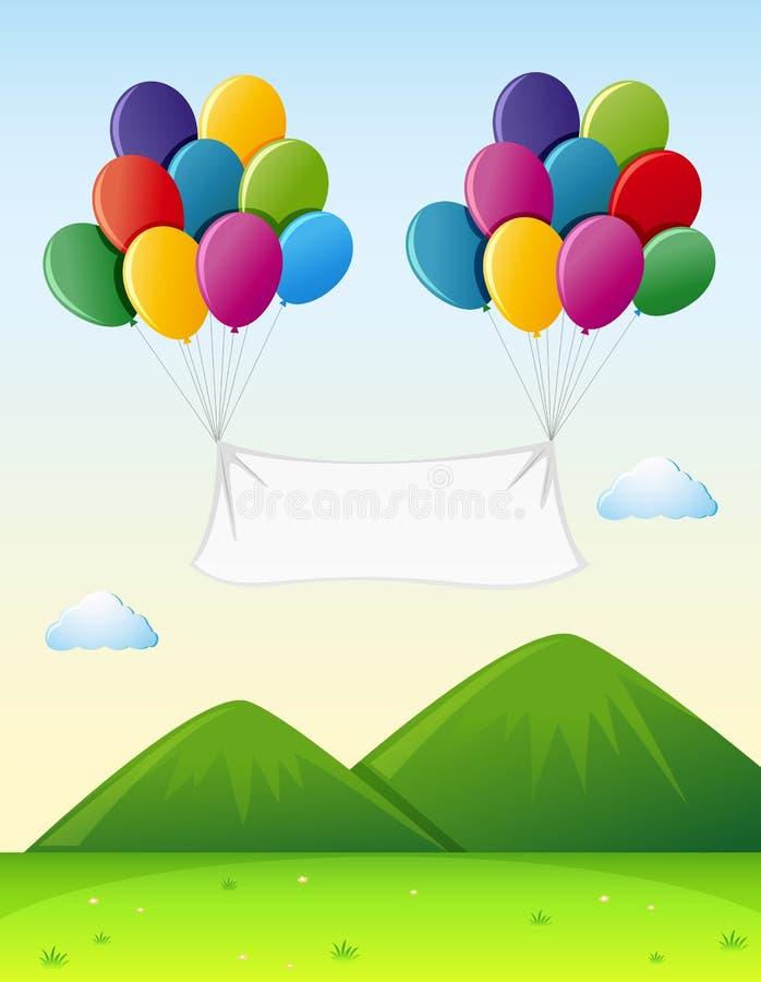 Шаблон знамени с красочными воздушными шарами в небе иллюстрация штока