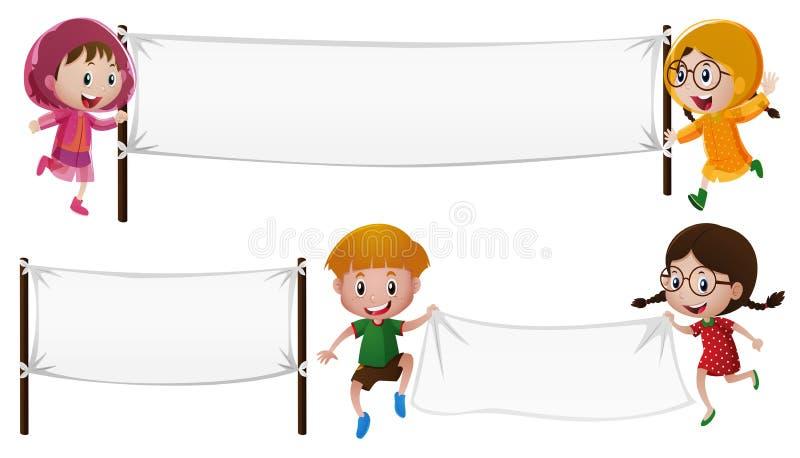 Шаблон знамени с мальчиком и девушками иллюстрация штока