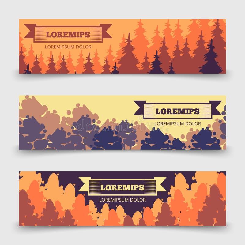 Шаблон знамен абстрактного леса горизонтальный - знамена с деревьями конструируют иллюстрация штока