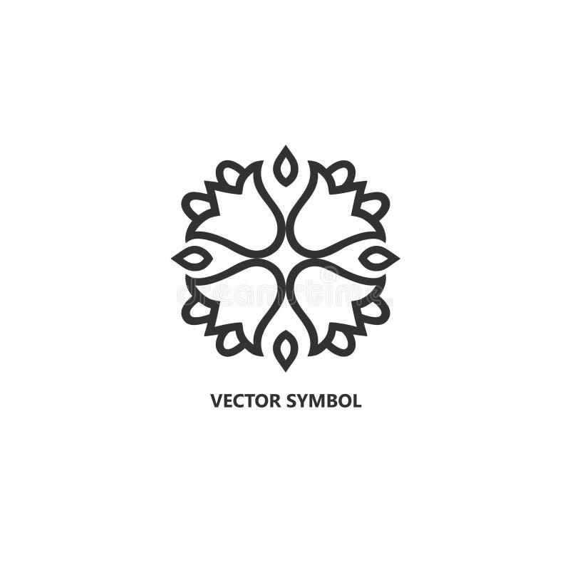 Шаблон значка вектора флористический и дизайна логотипа в стиле плана - абстрактном вензеле бесплатная иллюстрация