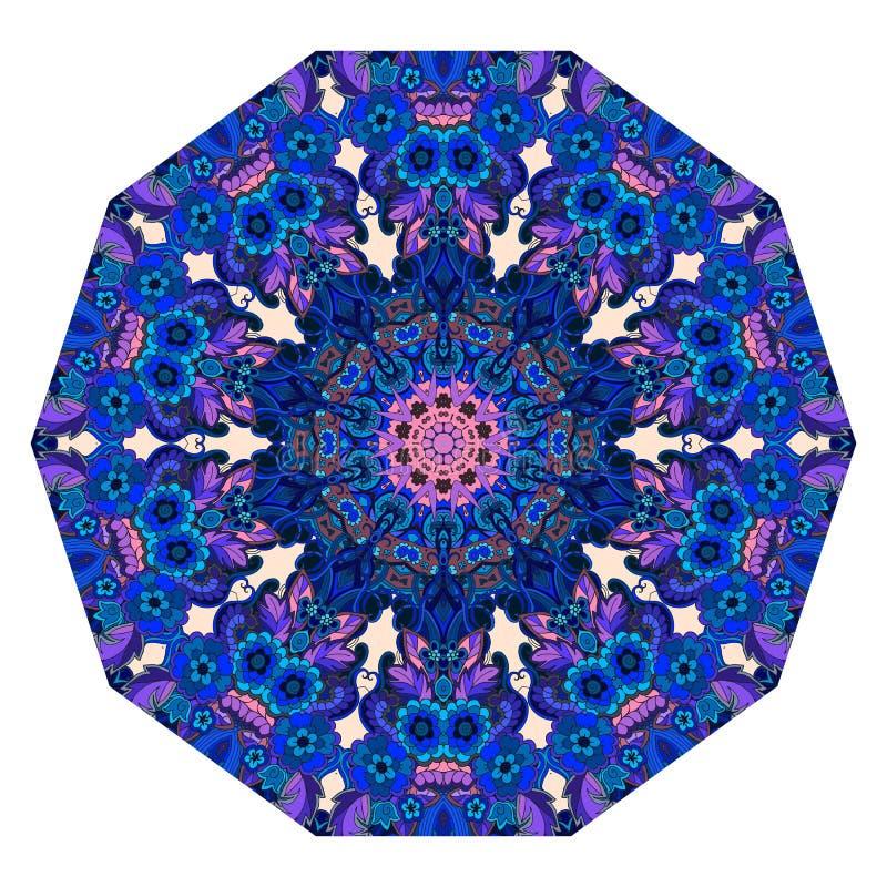 Шаблон зонтика Мандала цветка в голубых и розовых тонах циновка бесплатная иллюстрация