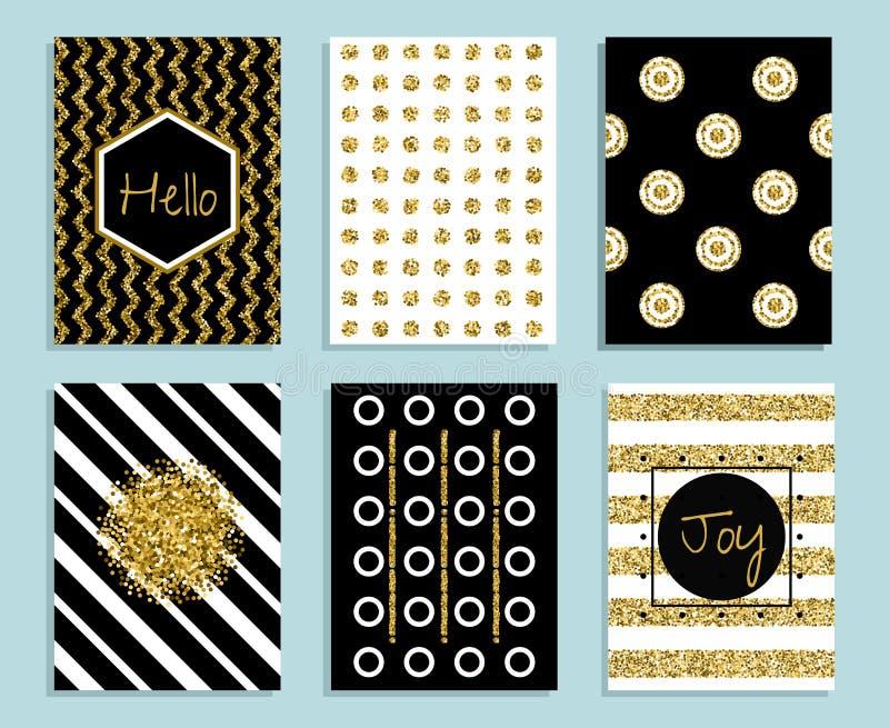 Шаблон золота, белых и черных подарка карточки с текстурой фольги бесплатная иллюстрация
