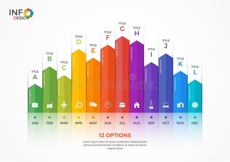 Шаблон диаграммы столбца infographic с 12 вариантами иллюстрация штока