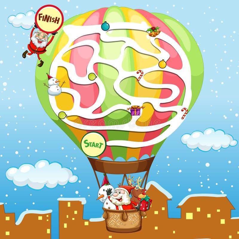 Шаблон игры головоломки с Сантой на воздушном шаре иллюстрация штока
