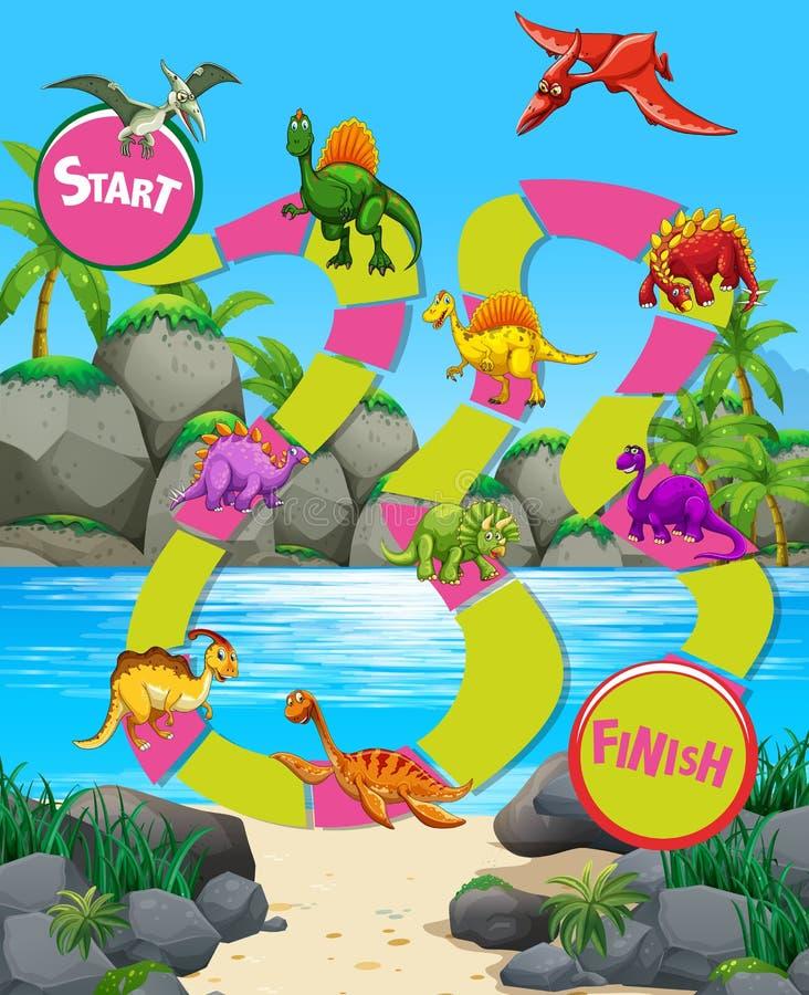 Шаблон игры с динозаврами на пляже бесплатная иллюстрация