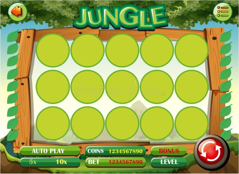 Шаблон игры с темой джунглей иллюстрация вектора