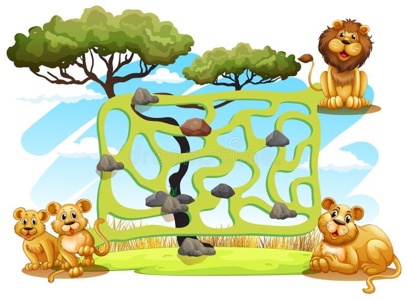 Шаблон игры с львами в поле иллюстрация вектора