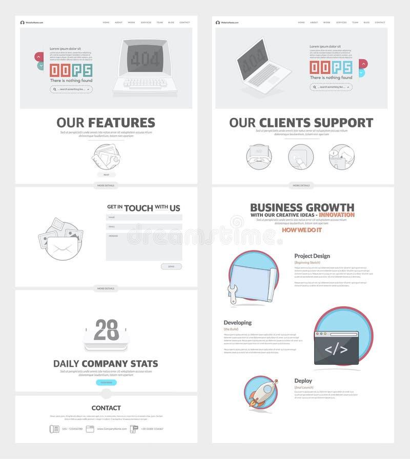 Шаблон дизайна вебсайта 2 страниц с значками и воплощениями концепции для портфолио деловой компании иллюстрация штока