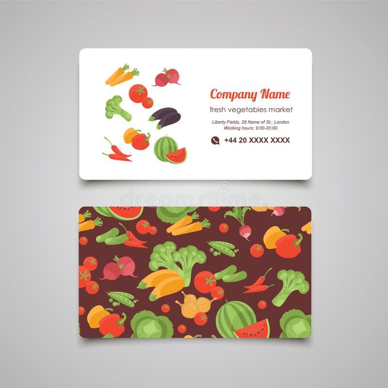 Шаблон дизайна вектора визитной карточки рынка свежих овощей бесплатная иллюстрация