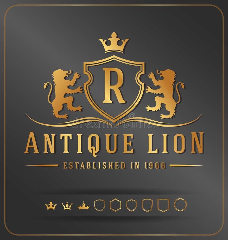Шаблон дизайна вектора гребня роскошных львов королевский бесплатная иллюстрация