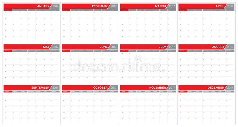 Шаблон дизайна вектора календаря таблицы года 2017 бесплатная иллюстрация