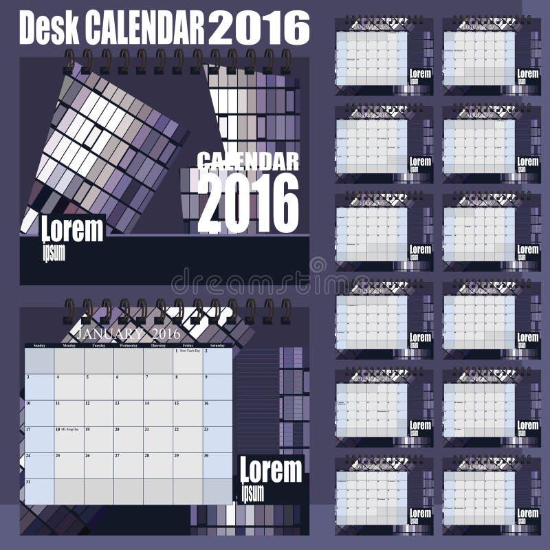 Шаблон дизайна вектора настольного календаря 2016 Комплект 12 месяцев иллюстрация штока