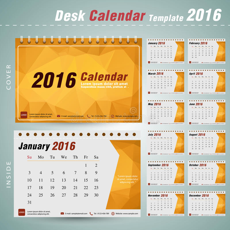 Шаблон дизайна вектора настольного календаря 2016 с абстрактной картиной бесплатная иллюстрация