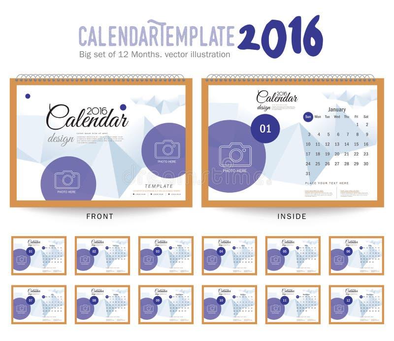 Шаблон дизайна вектора настольного календаря 2016 иллюстрация вектора