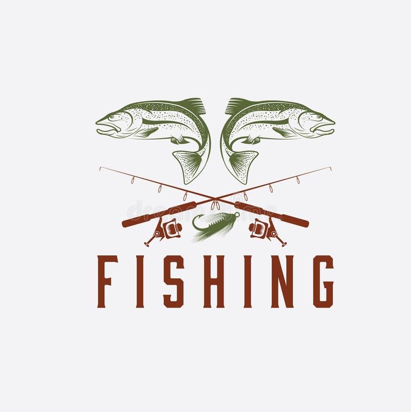 шаблон дизайна вектора рыбной ловли иллюстрация вектора