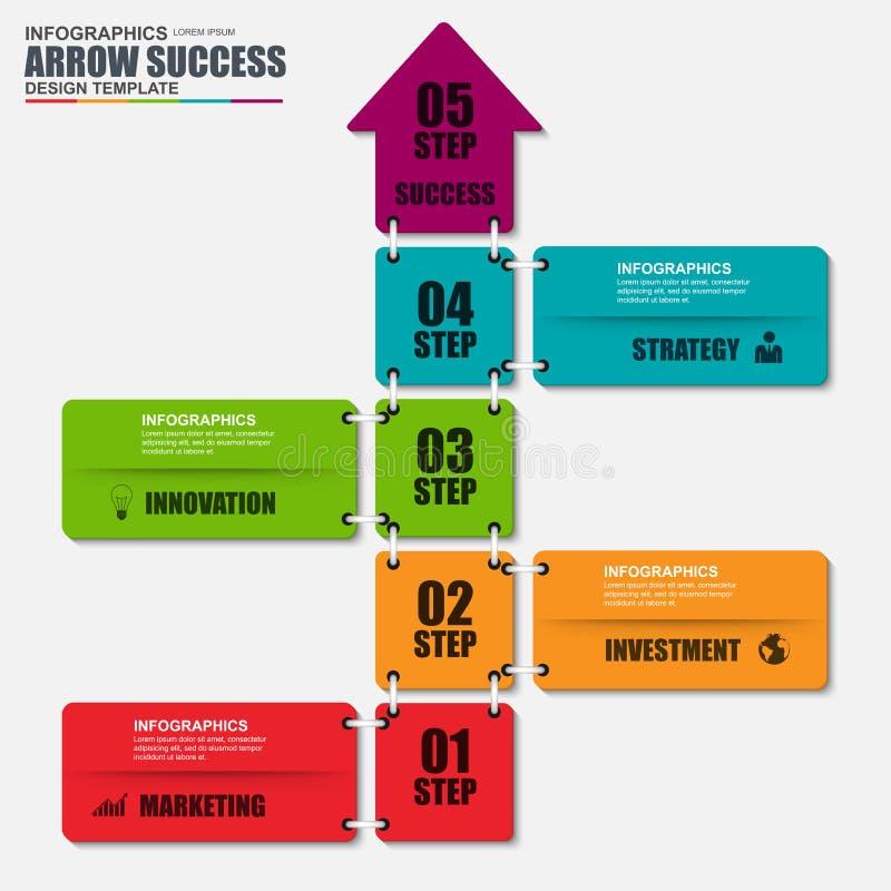 Шаблон дизайна вектора стрелки успеха в бизнесе Infographic иллюстрация штока