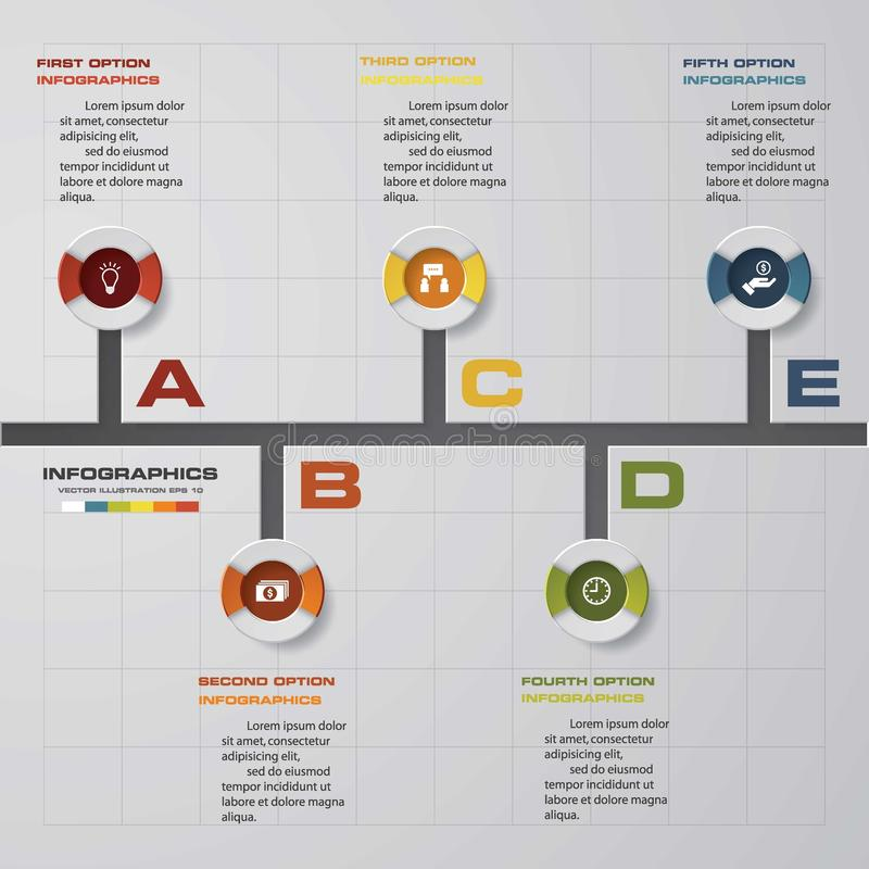 Шаблон дизайна вектора 5 шагов срока infographic Смогите быть использовано для процессов потока операций бесплатная иллюстрация