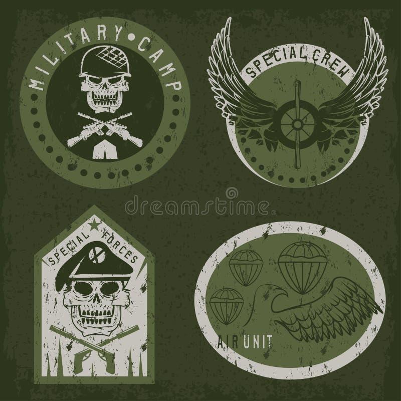 Шаблон дизайна вектора эмблемы grunge специального блока воинский иллюстрация штока