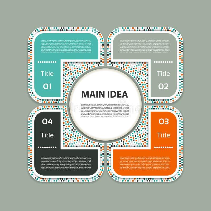 Шаблон дизайна вектора infographic Концепция дела с 4 вариантами иллюстрация штока
