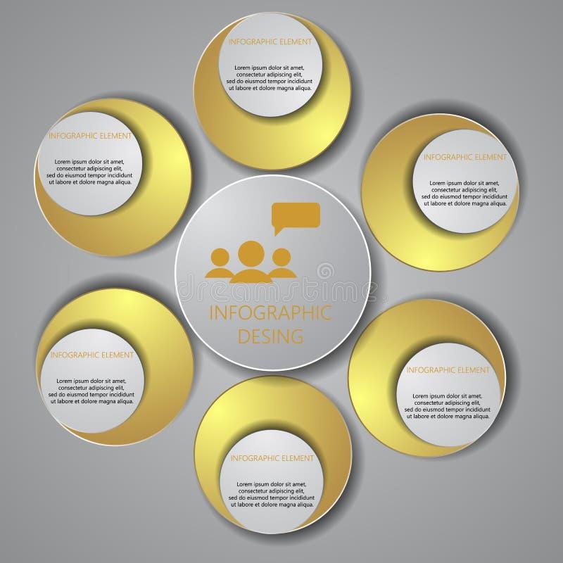 Шаблон дизайна вектора infographic Концепция дела с opti 6 иллюстрация вектора